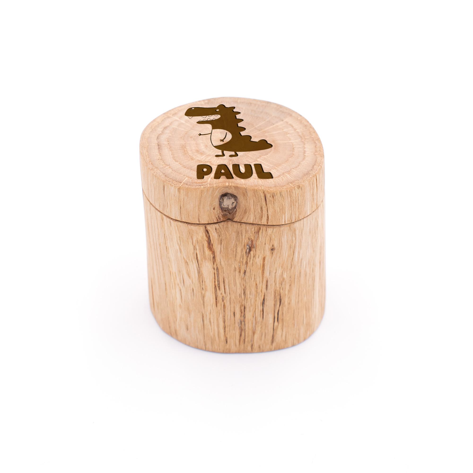 lustige personalisierte Milchzahndose aus Eiche-Holz mit coolem Dino graviert