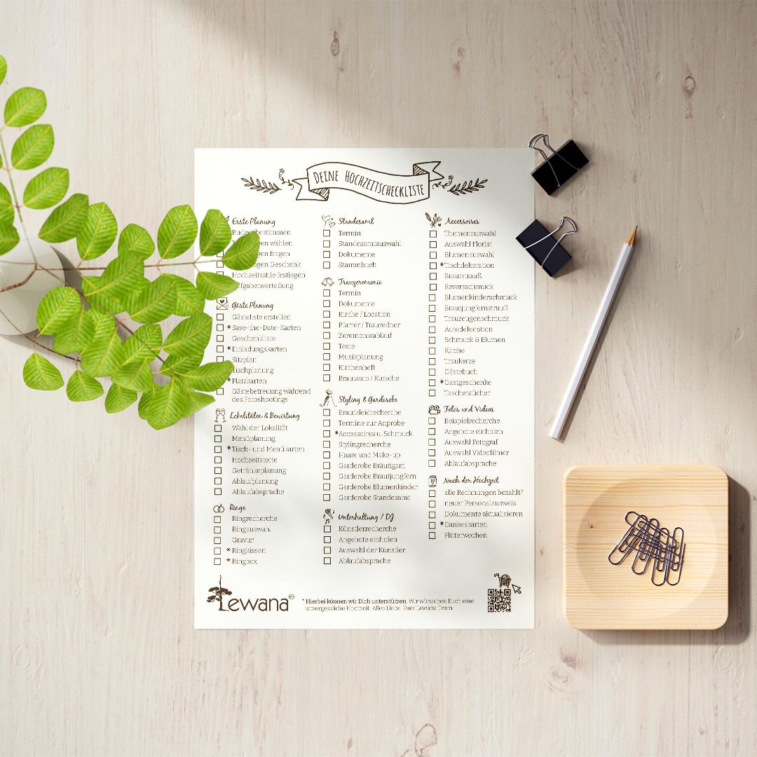 Checkliste für Deine Hochzeitsplanung als Gratis-Download