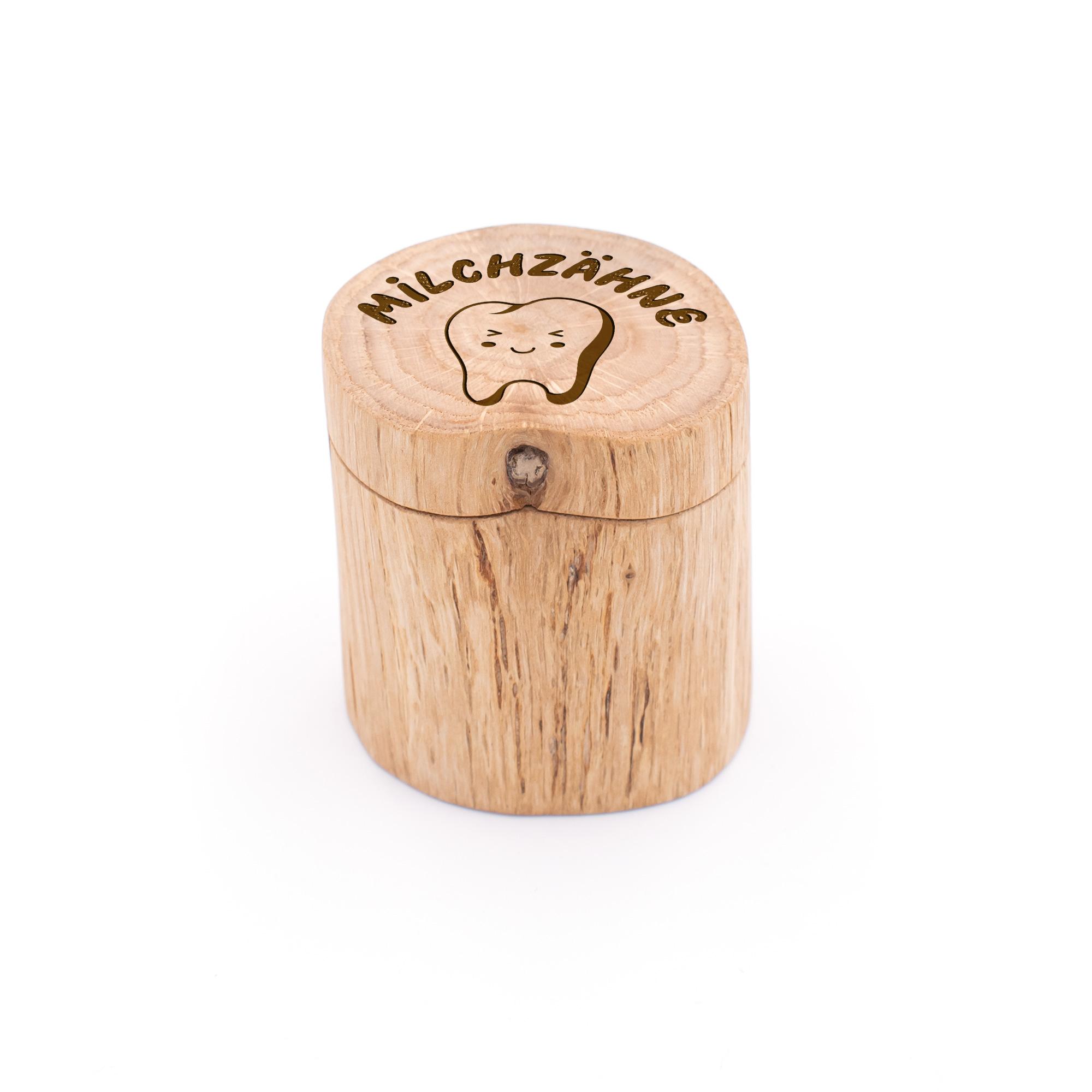 Milchzahndose mit niedlichem Zahnmotiv aus Eiche-Holz