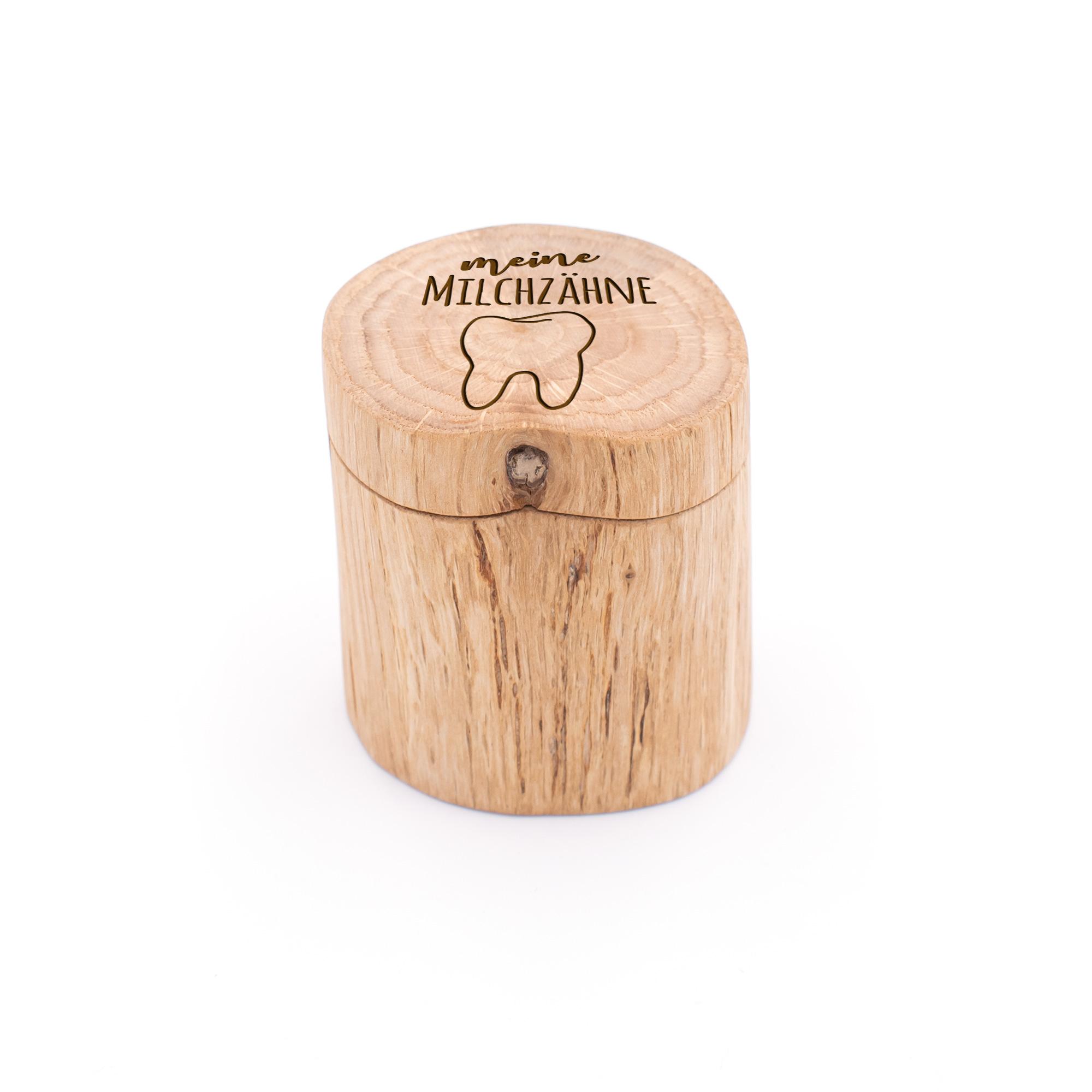 """Schöne Milchzahndose """"meine Milchzähne"""" aus Eiche-Holz mit Gravur"""