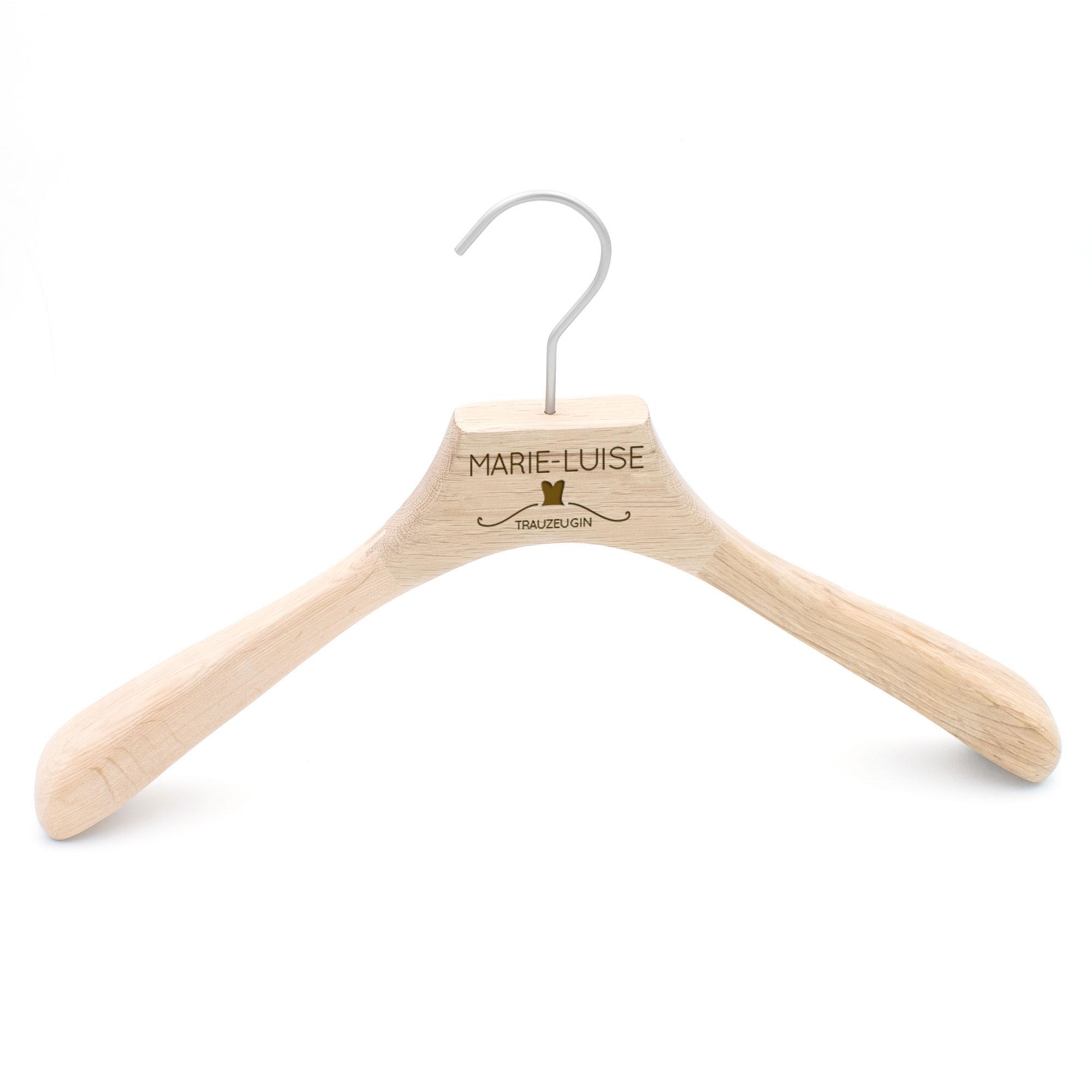 Kleiderbügel aus Holz, Trauzeugin