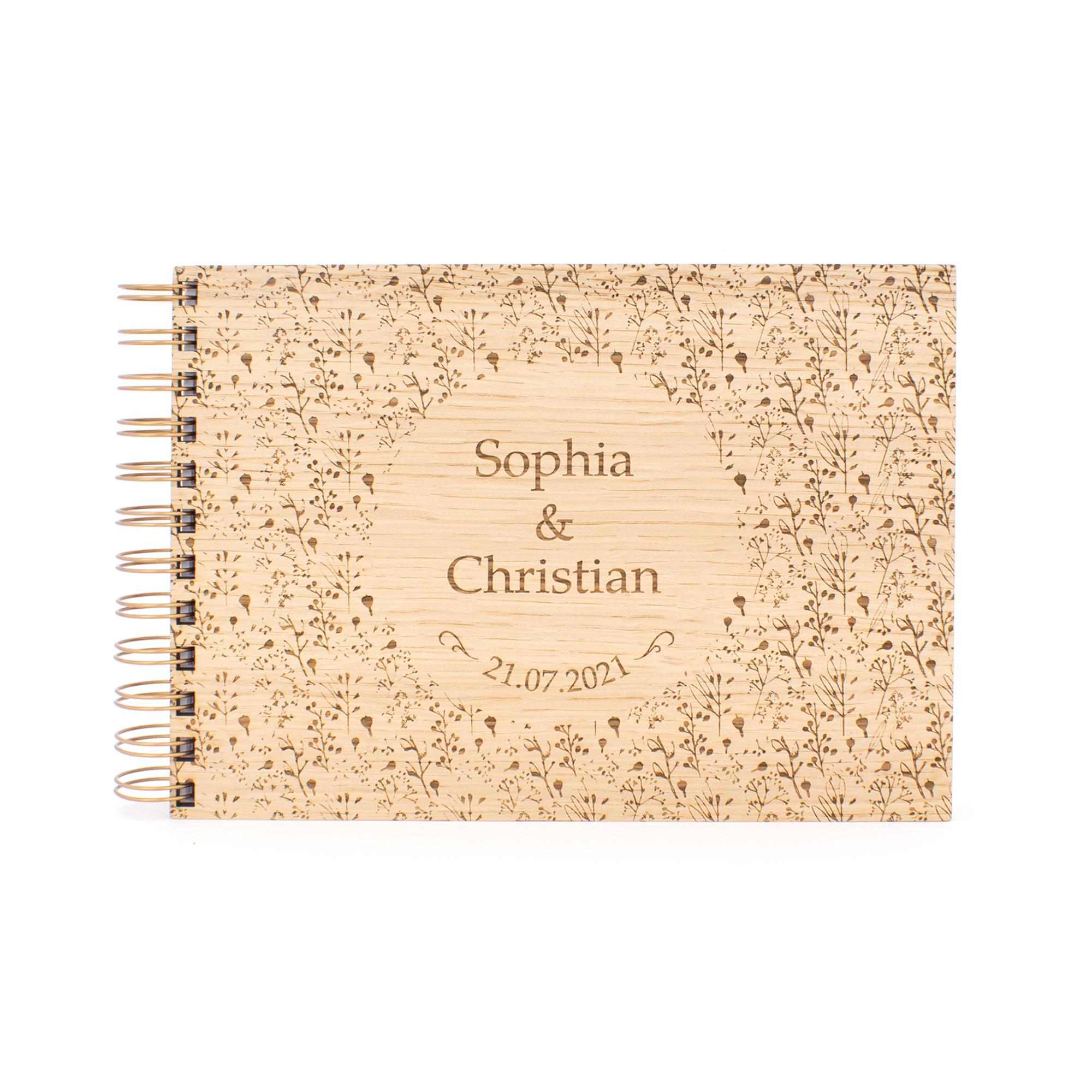 Gästebuch Alternative aus Holz zur Hochzeit in elegantem Wildflower-Design, personalisiert
