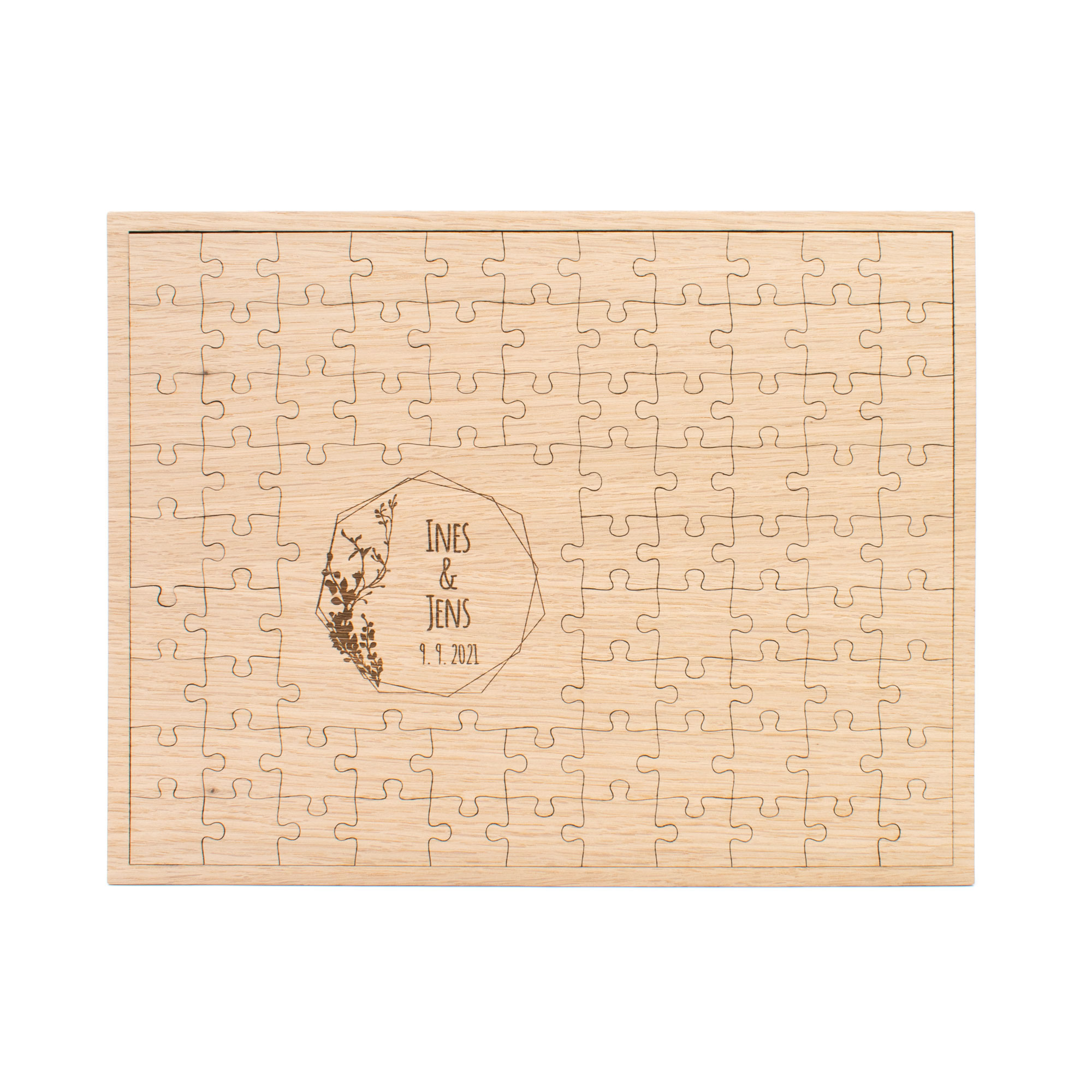 Gästebuch Holz zur Hochzeit, Boho 83 Puzzleteile