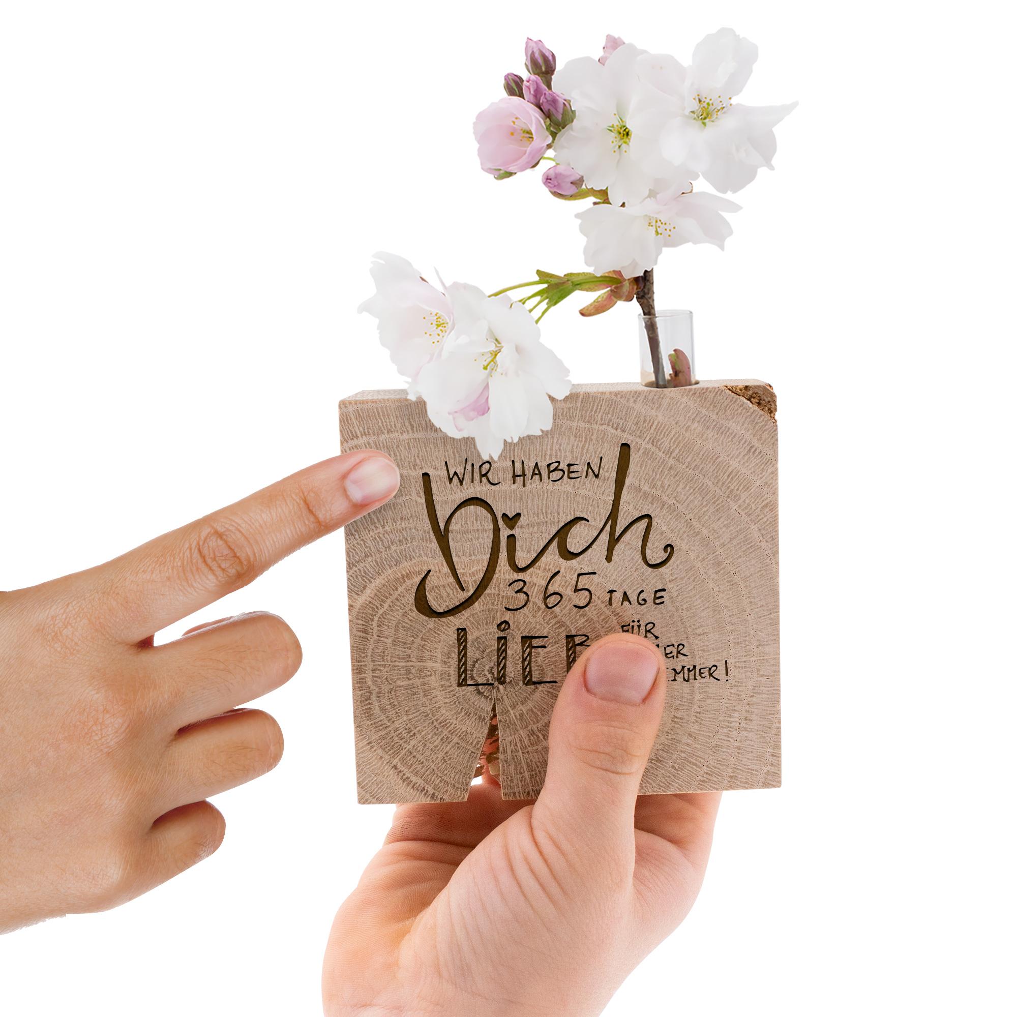 """Süße Holzdeko mit kleiner Vase und Gravur """"Wir haben dich lieb"""" als Geschenk für Mama, Papa, Oma und Opa"""